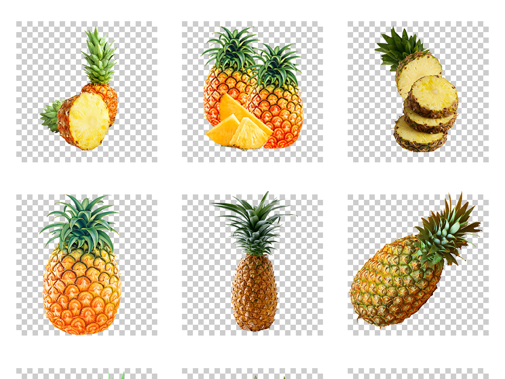 手绘卡通水果黄色凤梨菠萝png免扣素材