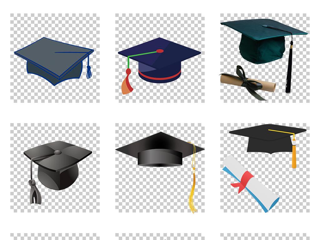 卡通博士帽毕业季学士帽海报png背景素材