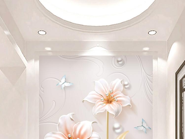 素雅现代简约浮雕立体花开富贵玄关装饰画