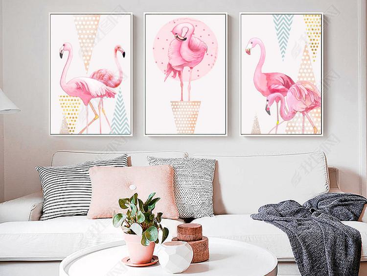 小清新现代简约动物火烈鸟植物北欧装饰画