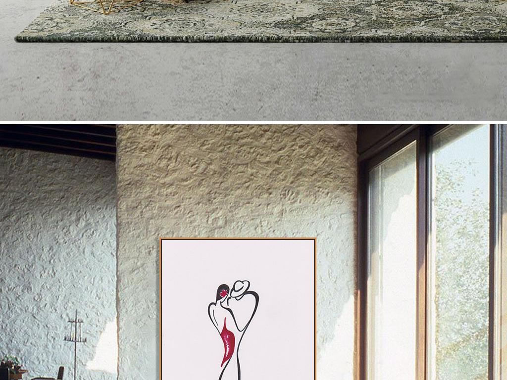 ins风人物极简线条手绘插画线稿抽象画