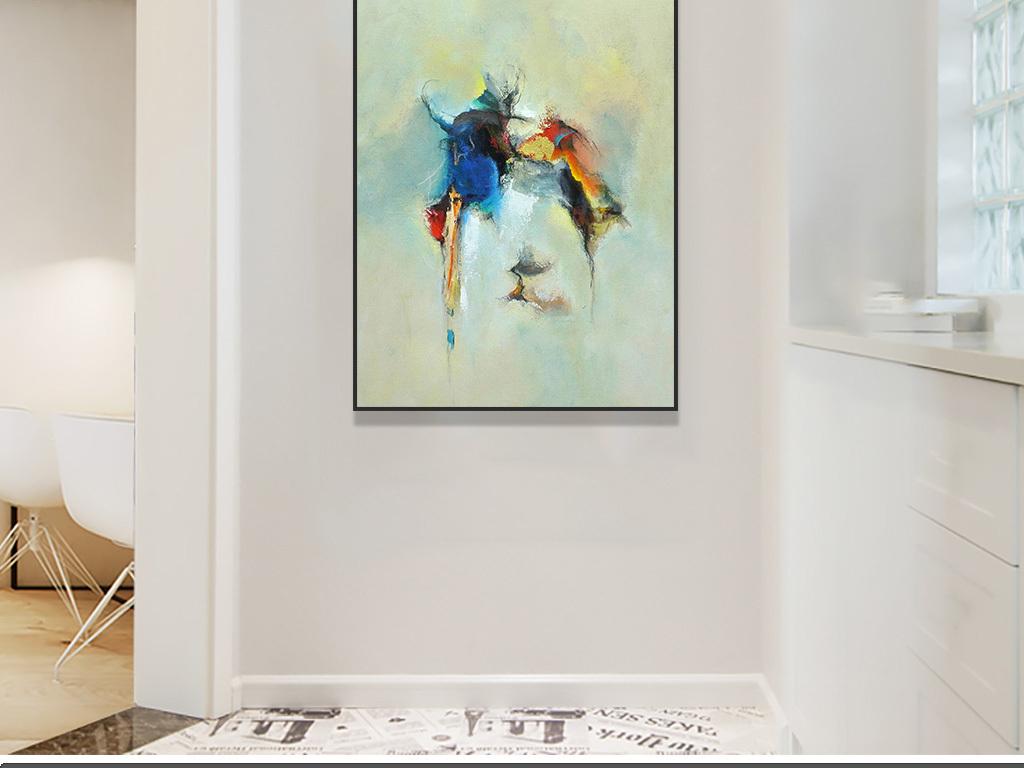 美式现代蓝色红色手绘色块涂鸦抽象装饰画