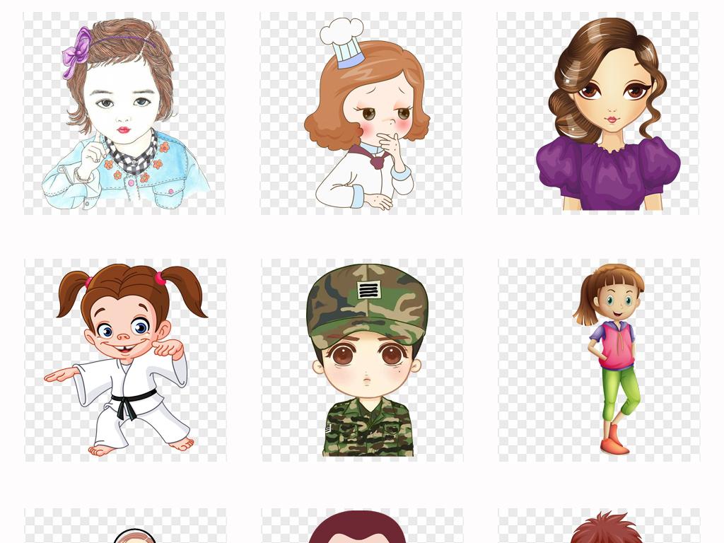 手绘卡通大眼睛人物可爱男孩女孩空姐护士人物表情png