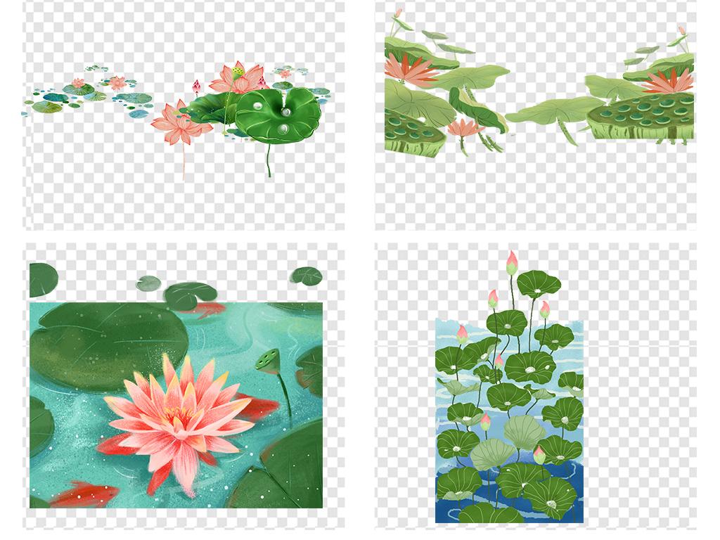 手绘荷花莲花花朵荷叶小清新png背景素材