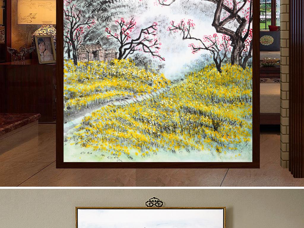新中式手绘画国工笔水墨山水飞鸟装饰画图片设计素材 高清模板下载 143.74MB 山水装饰画大全