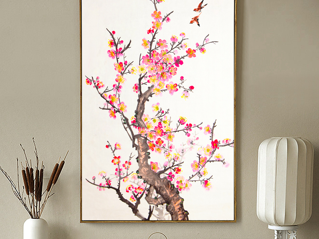 新中式水墨工笔花鸟装饰画手绘喜鹊