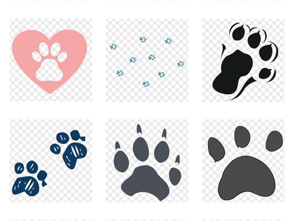 卡通手绘猫爪脚印图案动物宠物海报png设计素材