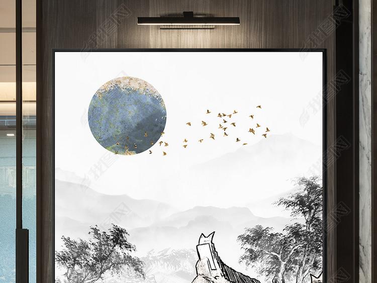 新中式徽派建筑马头墙飞鸟水墨山水装饰画