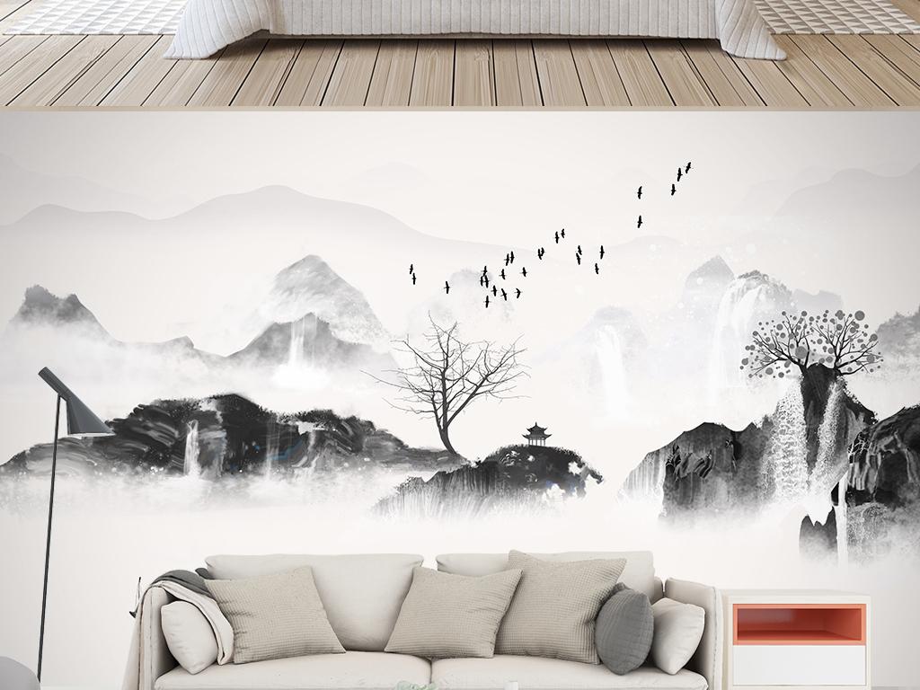 新中式手绘意境水墨山水意境飞鸟云雾背景墙