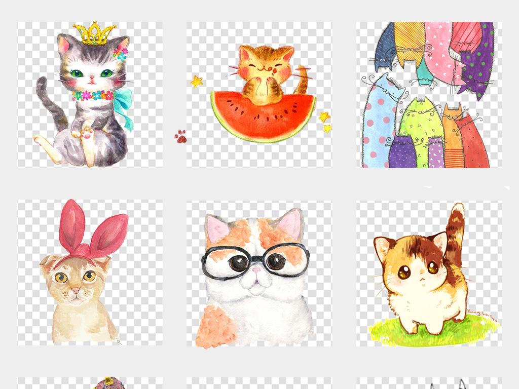 卡通手绘猫可爱小猫咪宠物动物海报png设计素材