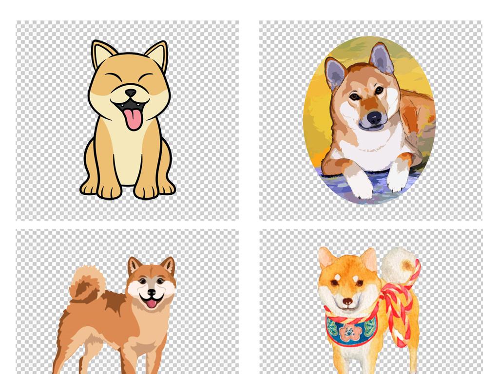原创手绘卡通日本动物秋田犬柴犬png免扣素材