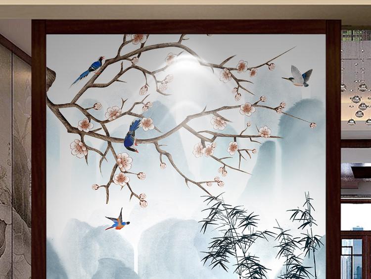 新中式水墨山水工笔花鸟玄关背景墙装饰画
