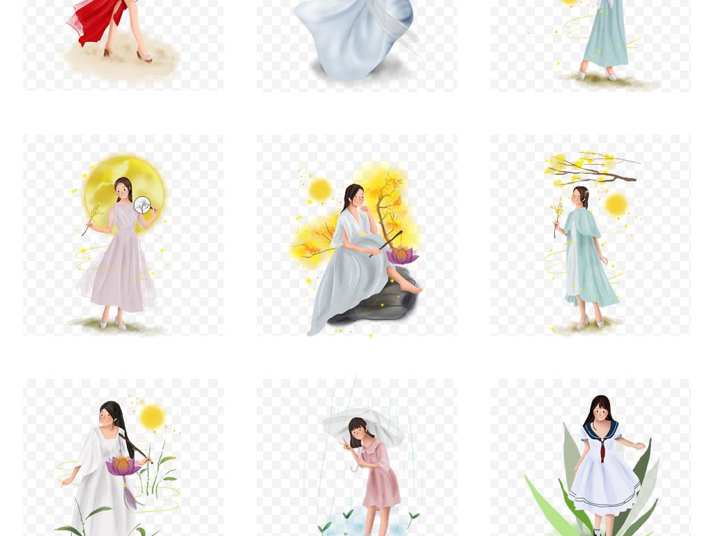 美女服装设计人物手绘手绘素材手绘古代人物女孩插画手绘卡通彩绘文艺