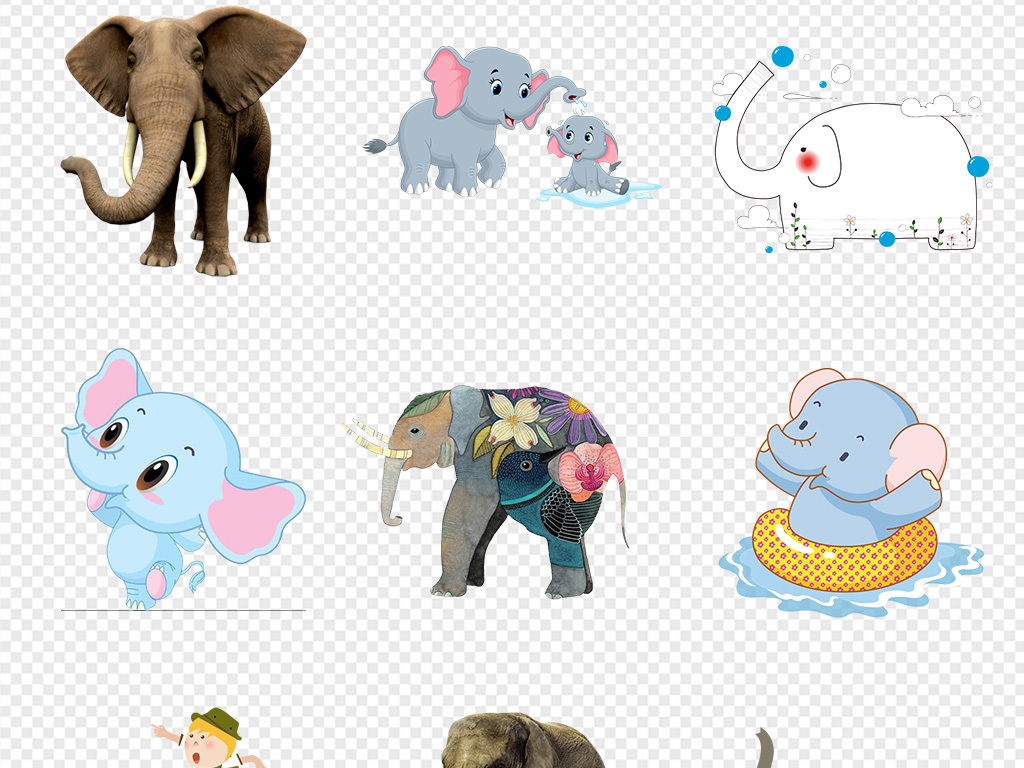 50款泰国旅游卡通手绘大象海报png素材