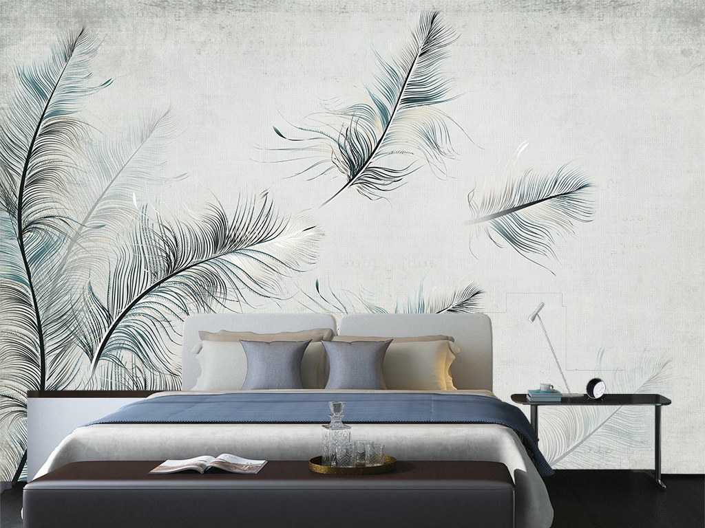 北欧风格壁画孔雀翎手绘羽毛抽象壁画