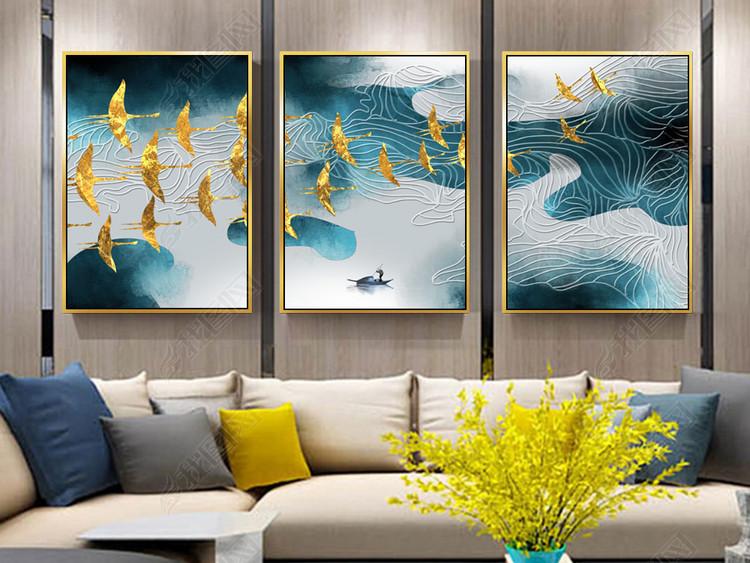 手绘三联现代简约抽象水墨山水风景装饰画