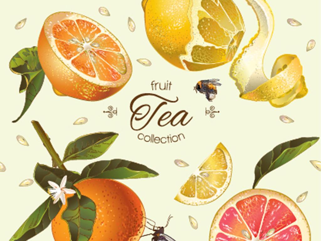 手绘水果植物柠檬印花图案设计图片_高清素材下载(3.