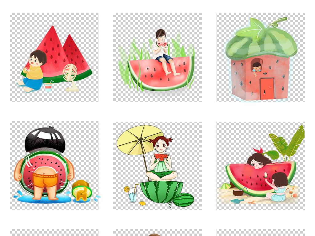 手绘卡通手绘水果手绘西瓜手绘素材手绘元素夏天素材西瓜素材卡通