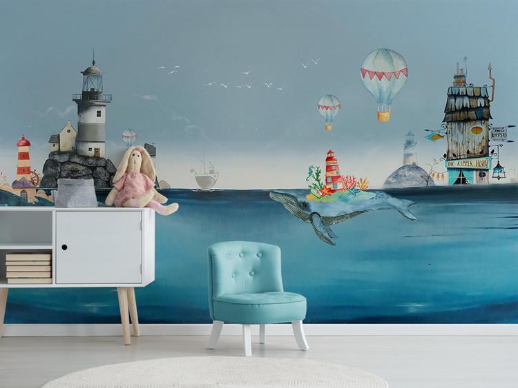 北欧创意水彩地中海海洋鲸鱼儿童房背景墙