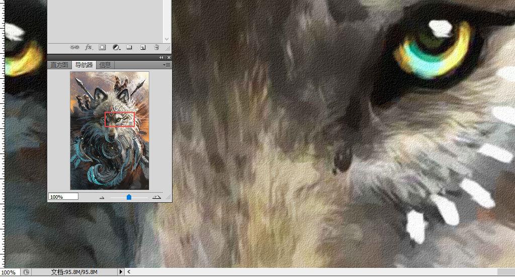北欧手绘复古怀旧狼王狼图腾装饰画背景墙