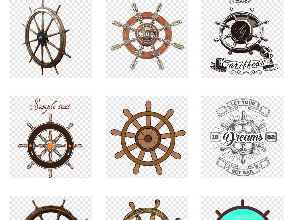 手绘复古风舵船航海船舵船锚png免扣元素