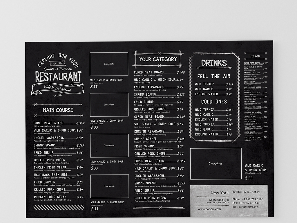 复古黑板手绘菜单psd模板