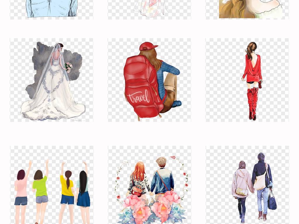 唯美手绘女孩背影彩绘人物背影插画png素材