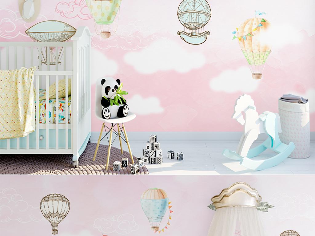 手绘粉色的梦北欧热气球沙发电视背景墙
