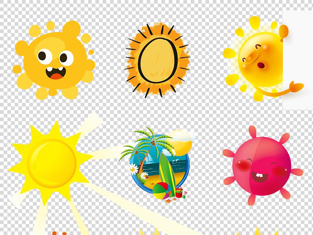 卡通小清新手绘太阳海报素材背景png