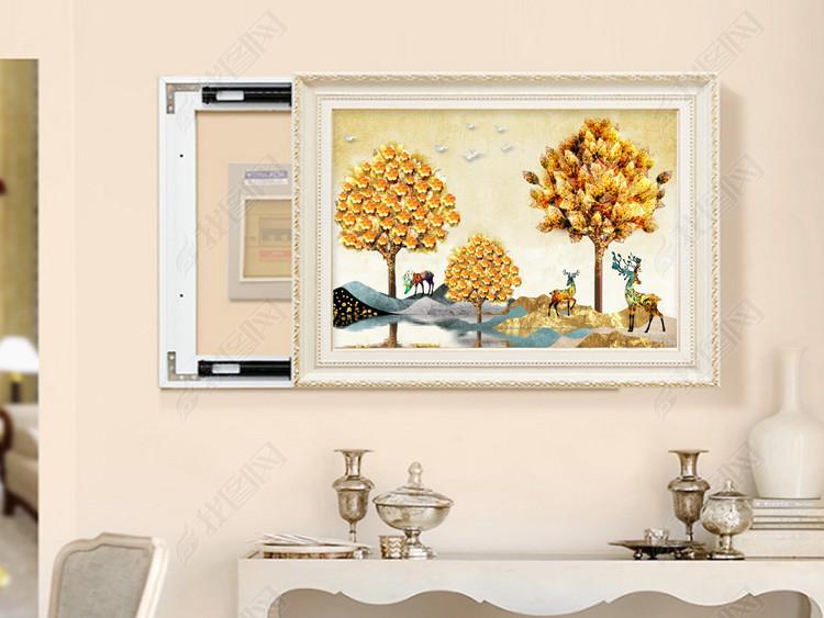 电表箱欧式复古风景山水发财树抽象北欧装饰画