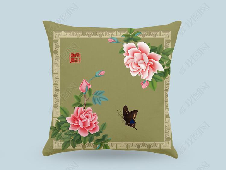 花开富贵中式抱枕图案设计