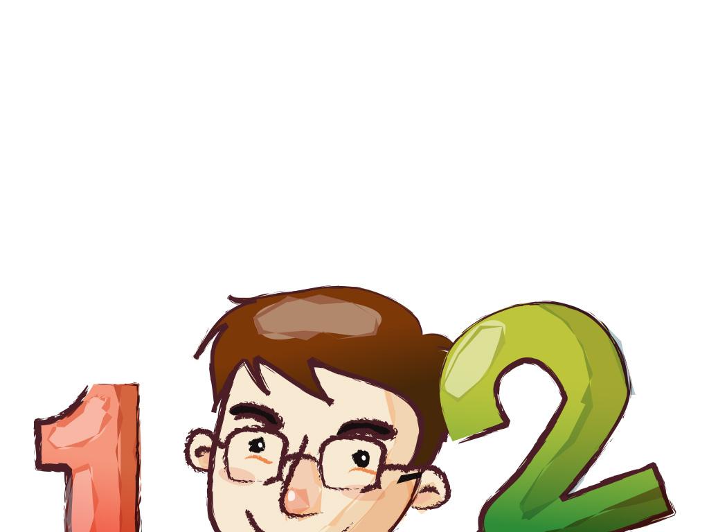 卡通可爱少年学数字读书