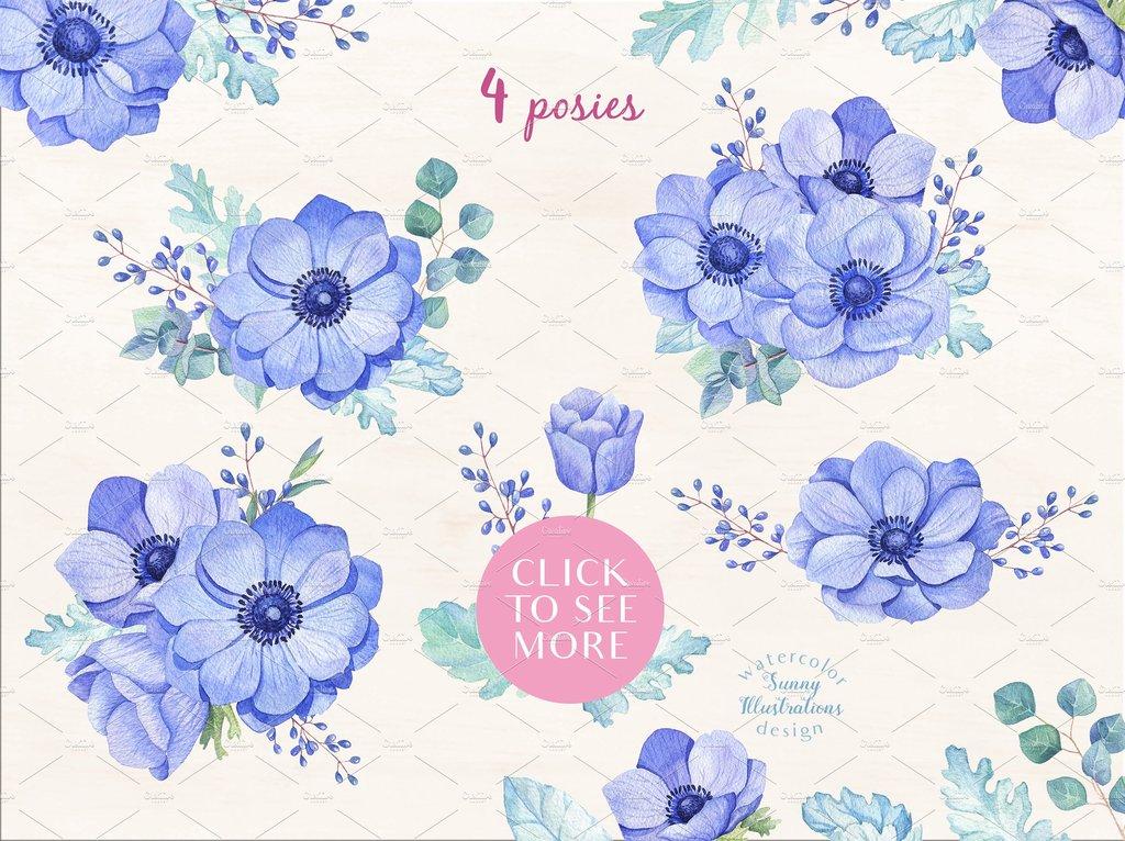 浪漫紫色手绘水彩花朵叶子png素材