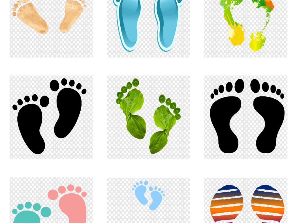 卡通人物沙滩脚印图片海报png素材图片