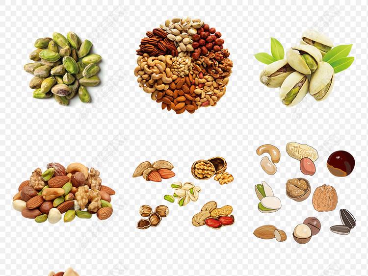 坚果零食腰果开心果年货食品海报素材背景PNG