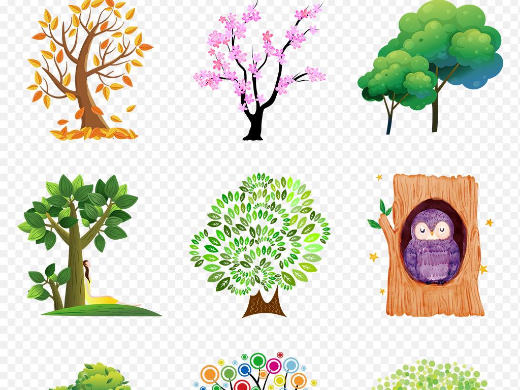 创意可爱手绘抽象卡通树大树海报素材背景png