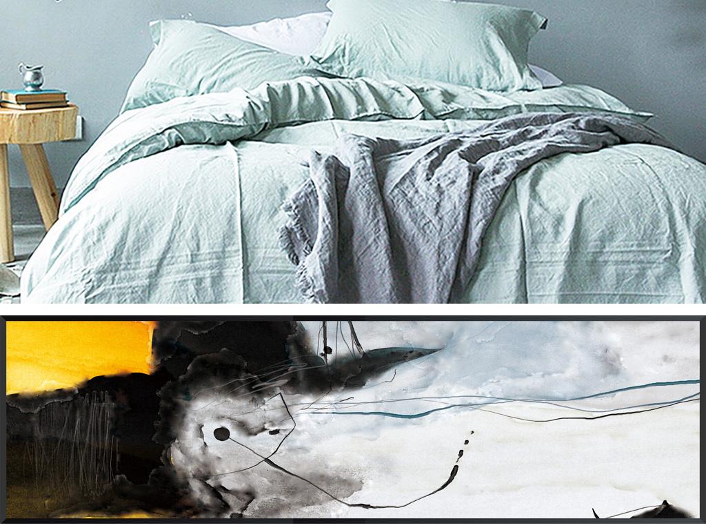 北欧现代艺术抽象手绘水彩客厅卧室双联装饰画