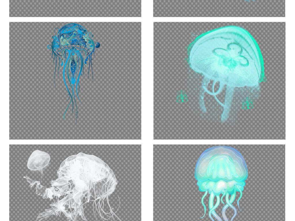 唯美手绘卡通水母动物图片png海报素材