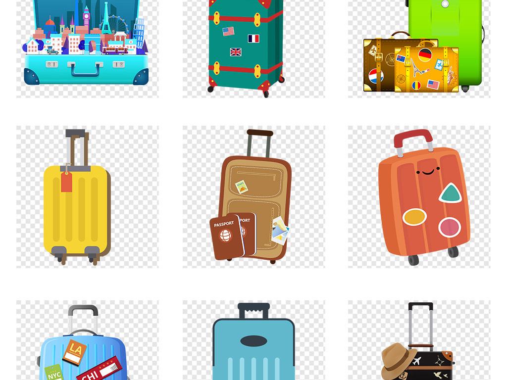 卡通手绘旅行箱度假行李箱海报png素材