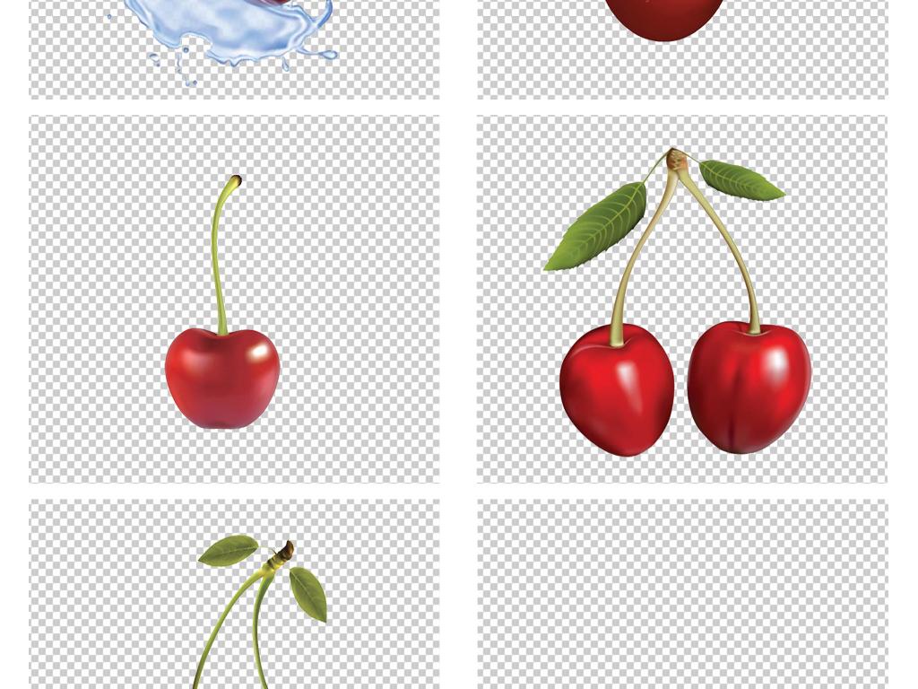 卡通手绘红色车厘子樱桃png免扣素材