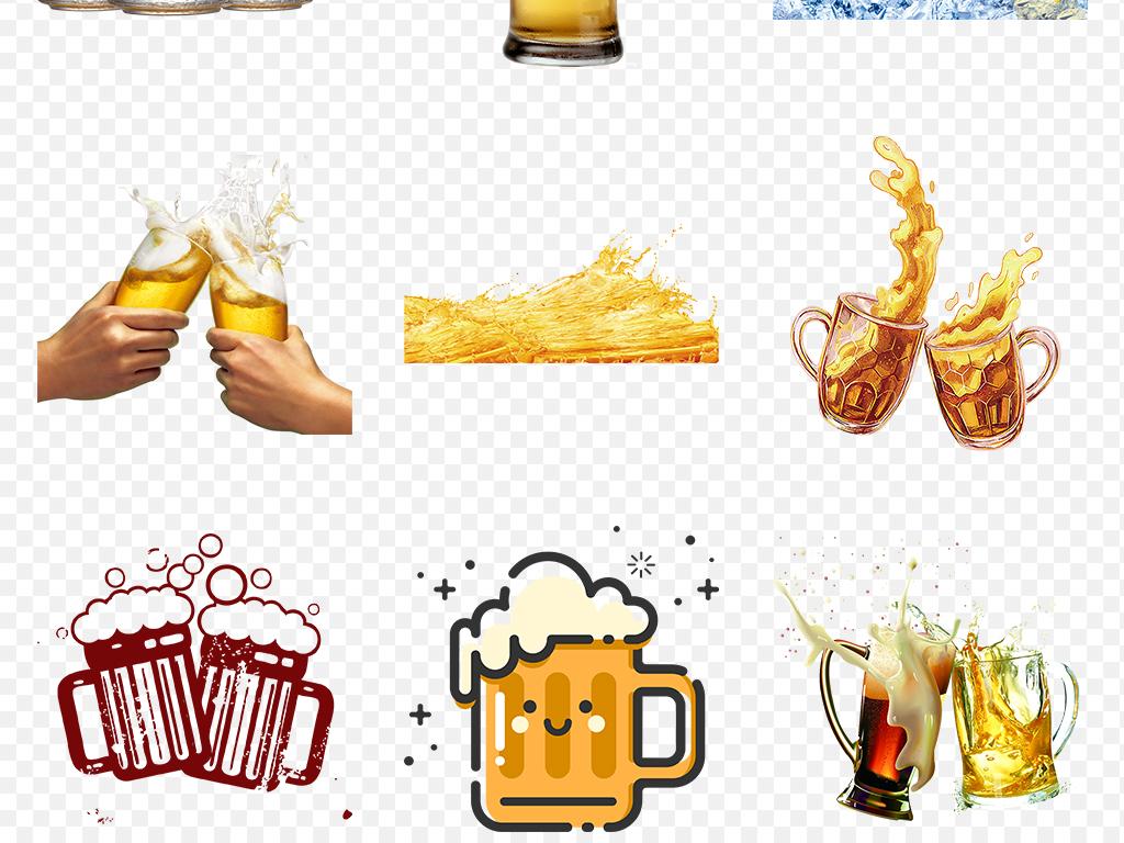 卡通手绘畅啤酒饮啤酒节海报素材背景png