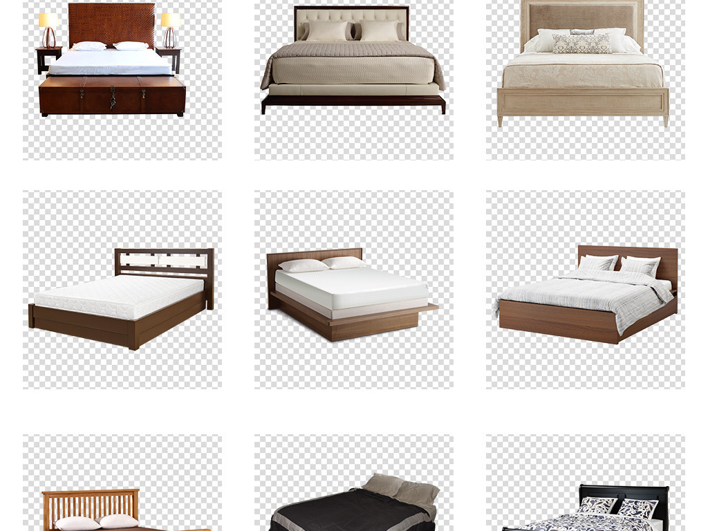 床铺欧式风格家具大床床铺素材免抠png图片
