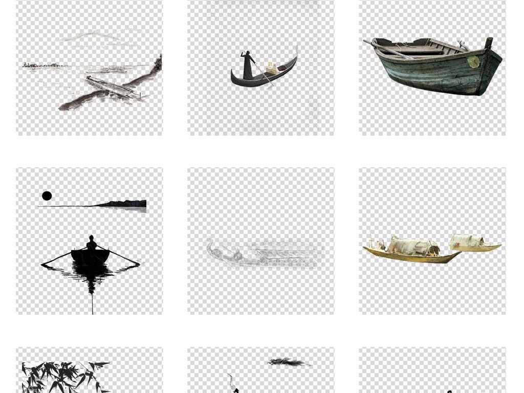 中国风手绘古典水墨小舟png透明元素图片