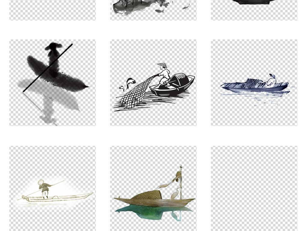 古风素材中国风手绘小舟古代小船
