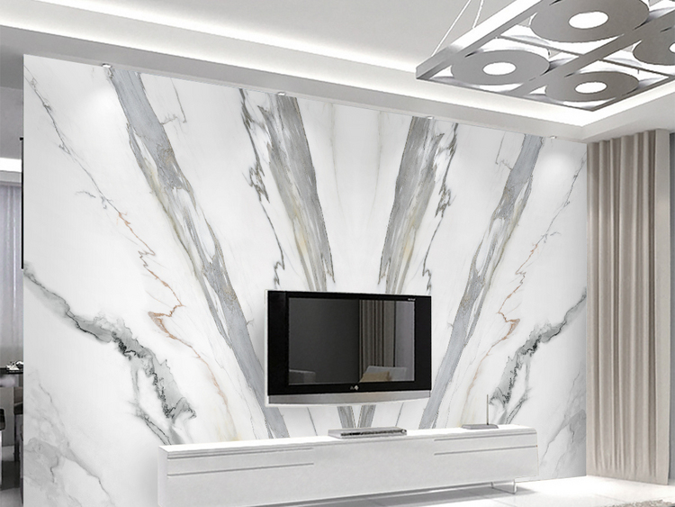 高清现代简约爵士白大理石纹对拼电视背景墙