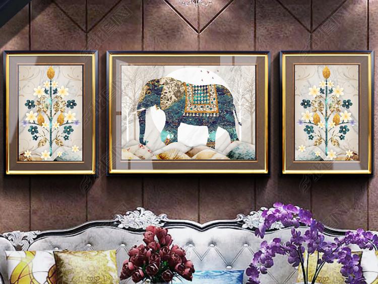 复古欧式大象大理石抽象风景山水客厅装饰画