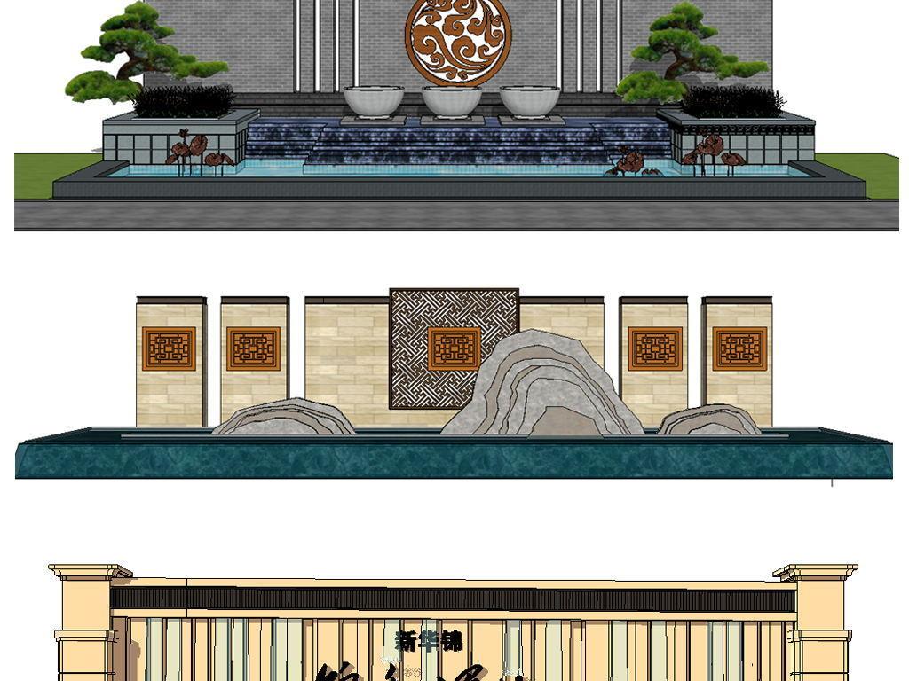新中式景墙模型设计图下载(图片30.57mb)_植物景观库