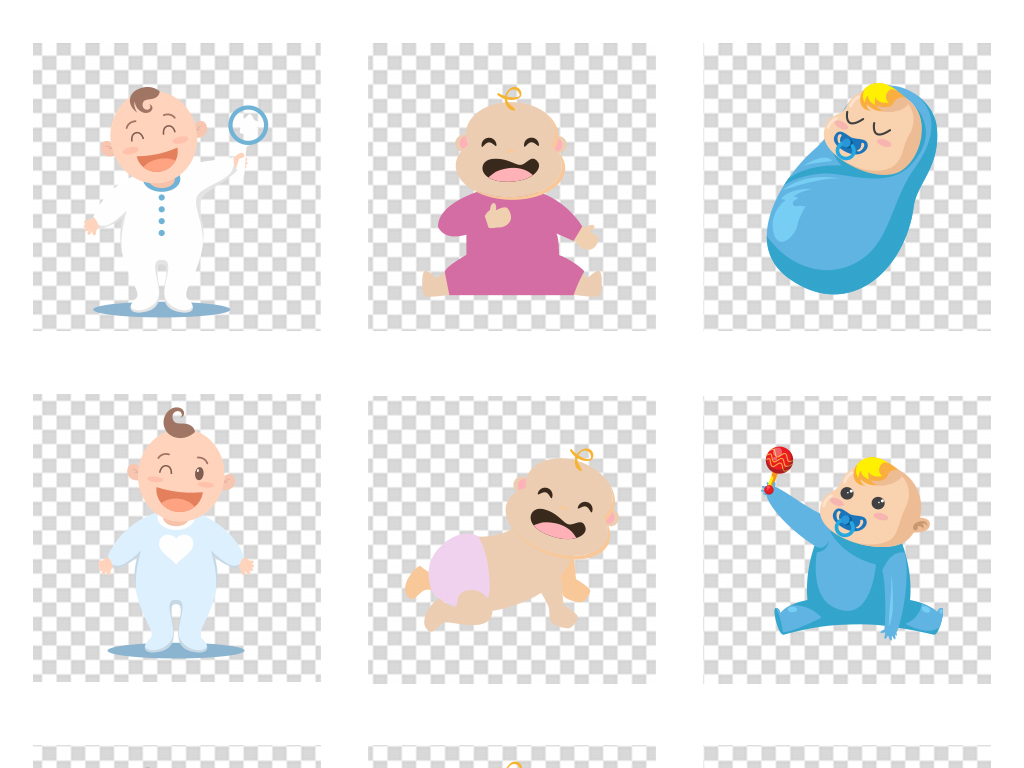 ai/png手绘小孩宝宝卡通婴儿儿童素材