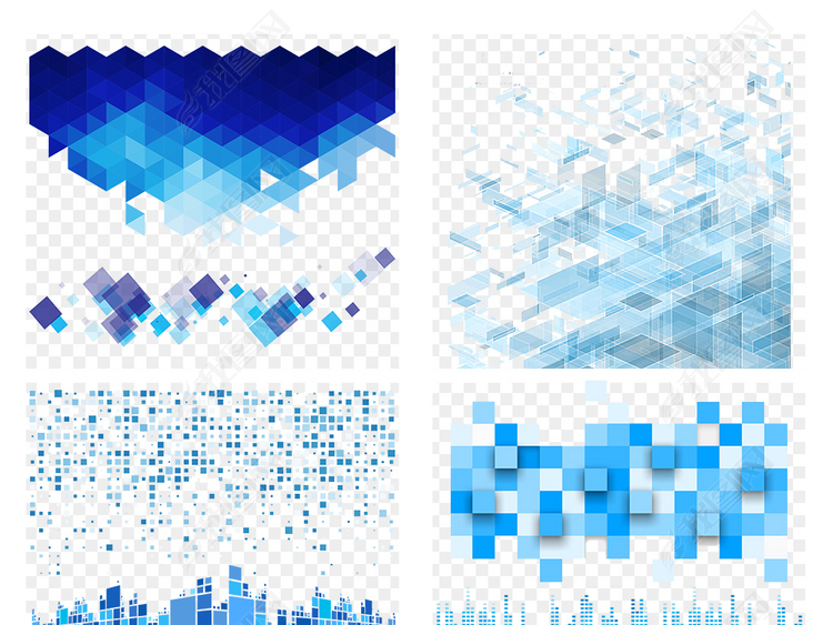 蓝色科技方块高科技感几何海报素材背景PNG