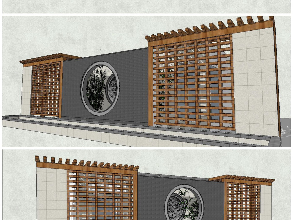 12款精品新中式景墙影壁墙文化墙围墙园林景观墙sketchup模型su模型图片